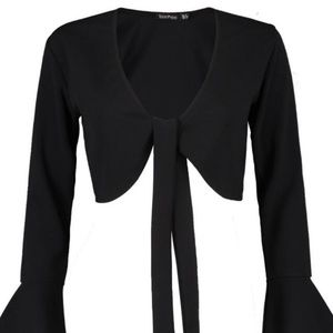Black Tie Front Frill Sleeve Top